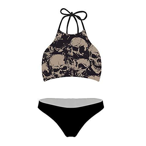 chaqlin Women's Bikini Sets Two Piece Vintage Swimsuit Cool Skull Zomble DesignBathing Suit Cool Skull Zomble DesignSize XL