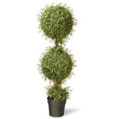 National Tree 48 Inch Mini Tea Leaf Double Ball Topiary Plant in Pot (LTLM4-701-48)