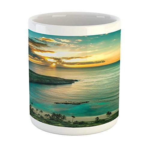Ambesonne Hawaiian Mug, Sunrise Over Hanauma Bay Oahu Hawaii Sunbeams Through Clouds Shoreline, Printed Ceramic Coffee Mug Water Tea Drinks Cup, Turquoise Green Yellow
