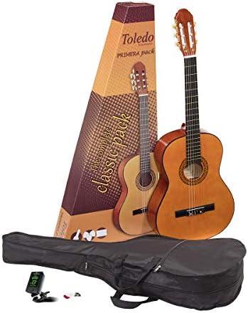 Pack de iniciación 4/4 guitarra clásica española Romanza mod Toledo con funda, afinador y puas - rockmusic: Amazon.es: Instrumentos musicales