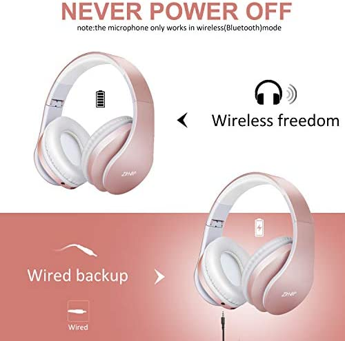 Bluetooth Over-Ear Headphones, Zihnic Foldable Wireless and Wired Stereo Headset Micro SD/TF, FM for Cell Phone,PC,Soft Earmuffs &Light Weight for Prolonged Waring (Rose Gold) 410yYT7Vv L
