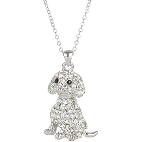 Heirloom Crystal (Heirloom Finds Clear Crystal Sitting Puppy Dog Pendant Necklace with Black Crystal Eyes)