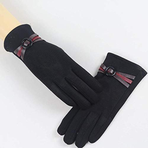 Blue Stones Winter Warm Women Gloves PU Leather Splice Thick Full Finger Touch Screen Wrist Gloves Mittens Cashmere Gants Guantes