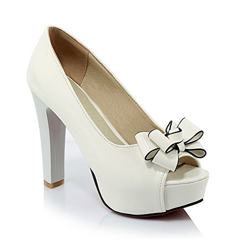 1TO9 Womens High-Heels Pull-On Classic Patent Leather Sandals White
