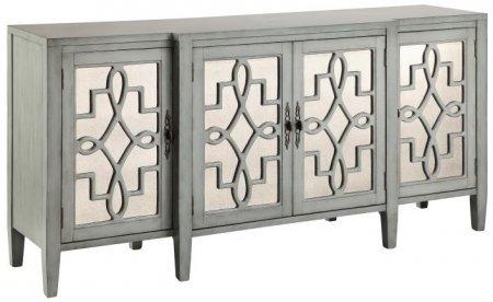 Stein World Furniture 4 Door Mirrored Credenza, Sage Gray
