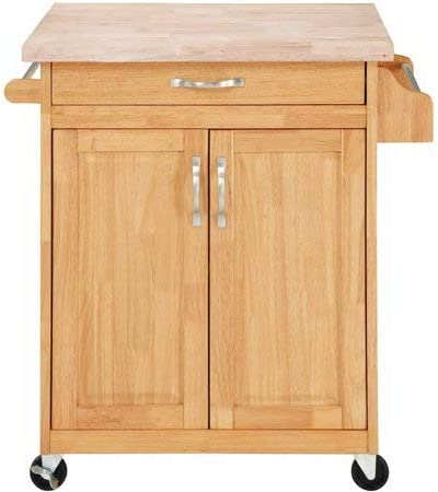 Mainstays Kitchen Island Cart, Natural. This Stylish Kitchen Furniture Has  a Solid Wood Top. Kitchen Island SALE!! Drawer and Cupboard Provide All ...
