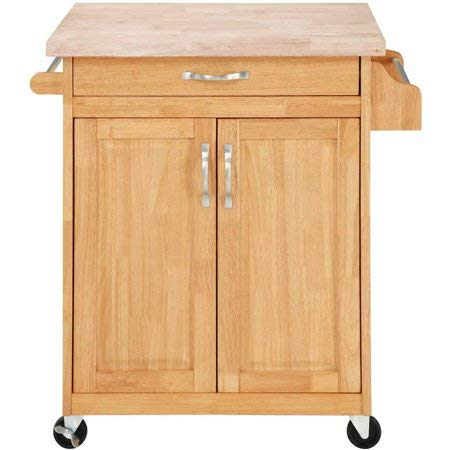 Mainstays Kitchen Island Cart, Natural. This Stylish Kitchen Furniture Has a Solid Wood Top. Kitchen Island SALE!! Drawer and Cupboard Provide All Your Kitchen Storage Needs. Sturdy Wheels For Moving ()