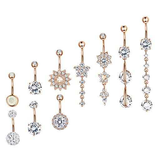 (Besteel 10 Pcs 14G Stainless Steel Dangle Belly Button Rings for Women Girls Navel Rings CZ Body Piercing Rosegold-Tone)