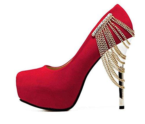 Femmes Chaussures Talons hauts Boîte de nuit sexy avec talons hauts de haute 12Cm chaussures de mariage de diamants , red , 39