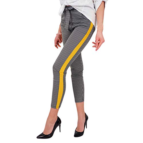 (Women Work Dress Pants, JOYFEEL Ladies Casual Plaid Side Stripe High Waist Trousers Skinny Bootcut Petite Ankle Pants Yellow)