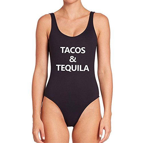 Taco Suit (Womens Tacos and Tequila Sexy One Piece Swimsuit Swimwear Bathing Suit)