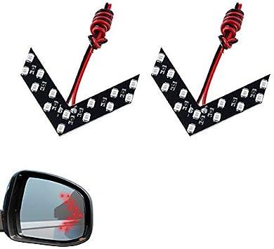 2Pc 14SMD Blue LED Arrow Panel Car Rear View Mirror Indicator Turn Signal Lights