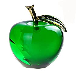Crystal Apple Paperweight In Green Colour