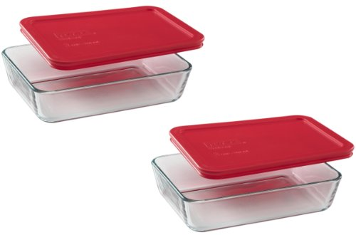 2 cup rectangular storage glass - 2