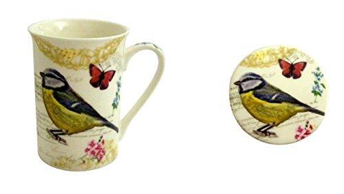 Kent Pottery - Bird Botanical Coffee Tea Mug and Coaster Set