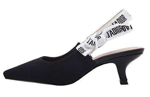 AgeeMi Shoes Damen Spitz Zehe Mittler Absatz Ziehen auf Suede Pumps Schuhe Schwarz