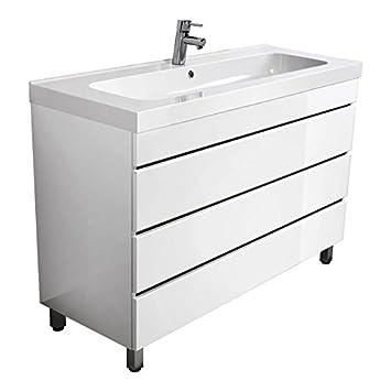 Lomado Badezimmer Waschtisch mit 120 cm Waschbecken, Standwaschtisch ...