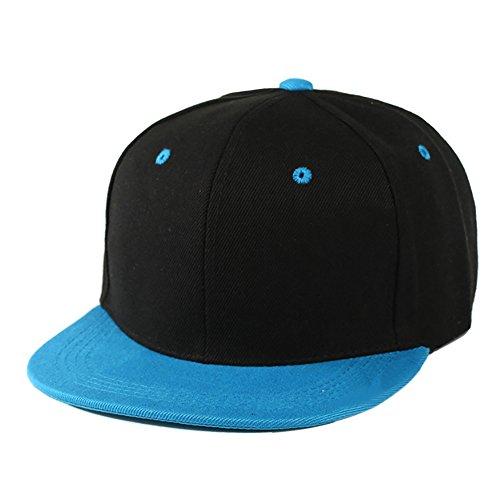 Altis Apparel Kid's Youth Flat Bill Snapback Hat - Hip Hop Baseball Cap (Black/Aqua) ()