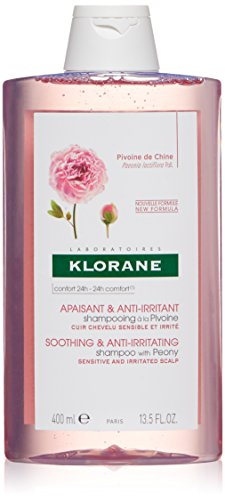 Klorane Shampoo with Peony, Soothing Relief for Dry Itchy Flaky Sensitive Scalp, pH Balanced, Provides Scalp Comfort, 13.5 oz.