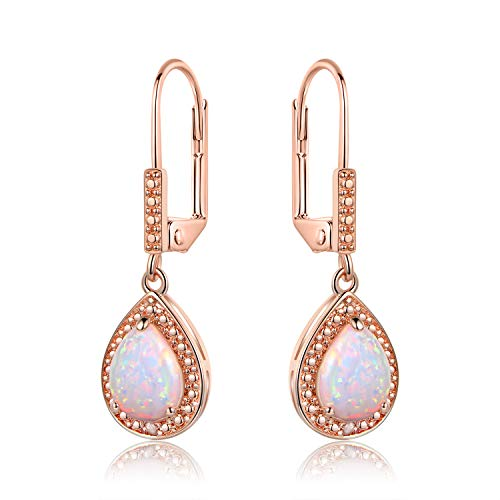 Barzel White Gold Plated or Rose Gold Plated Created Opal & Diamond Accent Drop Earrings (Rose Gold Opal)