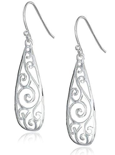 (Sterling Silver Dangle Earrings, Elegant Flower Filigree Teardrop Earrings #SSE34)