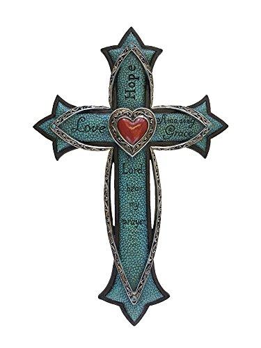 "Montana West Spiritual 14"" Wall Cross Western Home Decor Turquoise Love Heart"