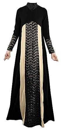 Plaid&Plain Women's Long Sleeve Muslim Islamic Abayas Lace A-line Maxi Dress