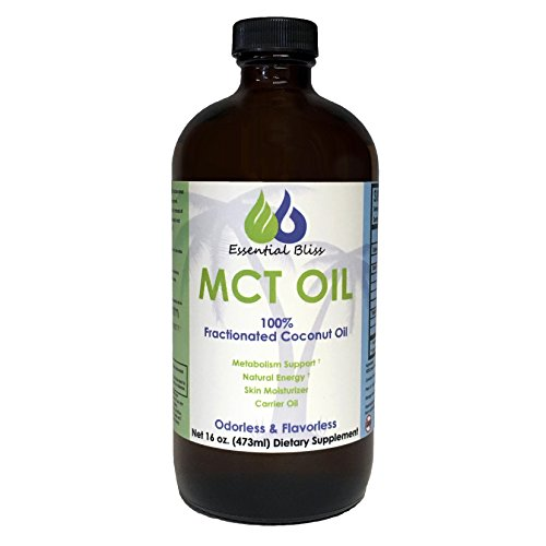 Essential Bliss MCT Coconut Oil 16 Oz (Glass Bottled) - 100% Pure Fractionated Organic Coconut Oil for Essential Oils, Bulletproof Coffee, Smoothies - Vegan MCT Oil Non GMO, Paleo, Kosher, All Natural