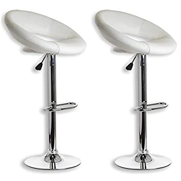 Lot de 2 tabourets de bar pablo simili cuir blanc