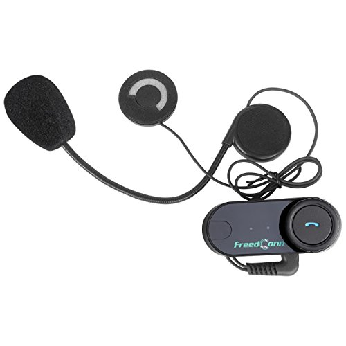 2 Units with Soft Cable Bluetooth Headset and Intercom FreedConn T-COMVB Motorcycle Helmet Communication Headphone for Scooters//Motorbike Skiing Range-800M//2-3Riders Pairing//Black