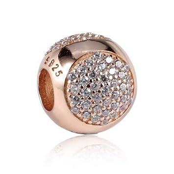 Color: 2 Calvas 100/% 925 Sterling Silver Charm Bead Mom Heart Flower Rose Gold Cystal Pendant Charms Fit DKG Original Bracelets DIY Jewelry