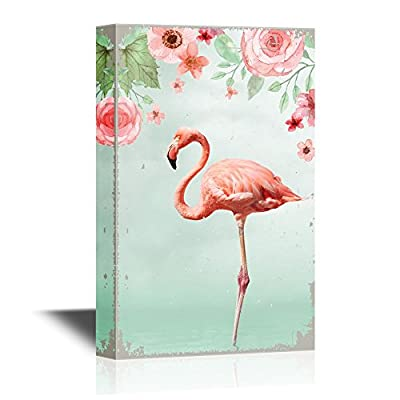 Canvas Wall Art - Pink Flamingo Standing with One Leg in Water with Flowers - Gallery Wrap Modern Home Art | Ready to Hang - 12x18 inches