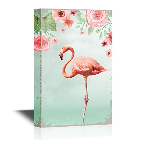 Pink Flamingo Standing with One Leg in Water with Flowers