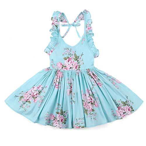 Flofallzique Vintage Floral Blue Girls Dress Baby Backless Easter Sundress Toddler Clothes (12, Blue) -