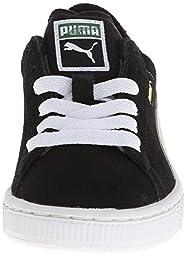 PUMA Suede Junior Sneaker (Little Kid/Big Kid) , Black/White, 13.5 M US Little Kid