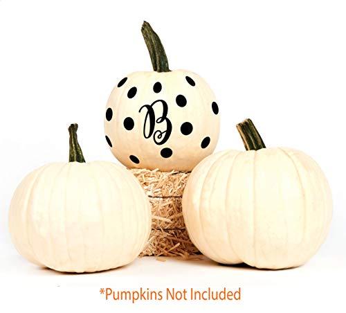Halloween Decorations - 2 Sets Black Letter B Polks Dots Decorating Jack-O-Lanterns, Pumpkins - Fall Decor Vinyl Decals, Party Favors
