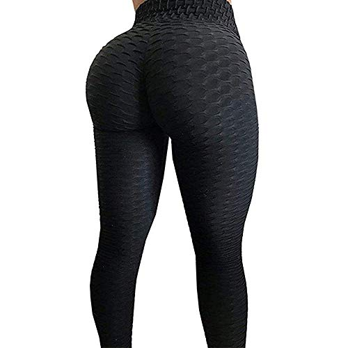 ASNUG High Waist Yoga Pants for Women - Textured Stretchy Skinny Booty Leggings - Tummy Control Workout Ruched Butt Lifting Thights (Black, L)