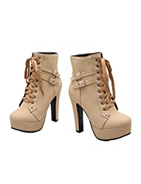 Xianshu Platform High Heel Shoes Lace-up Buckle Ankle Boots