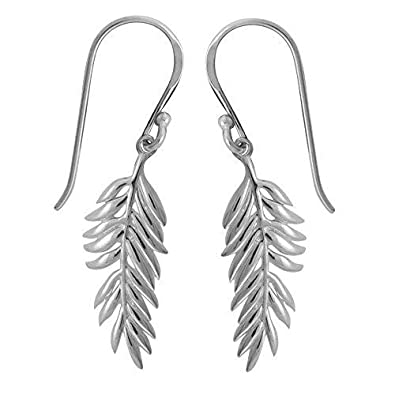 5d83b658d Image Unavailable. Image not available for. Color: Boma Jewelry Sterling  Silver Fern Earrings
