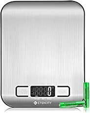 Etekcity Digital Kitchen Scale Multifunction Food Scale, 11 lb 5 kg, Silver, Stainless Steel (Batteries Includ