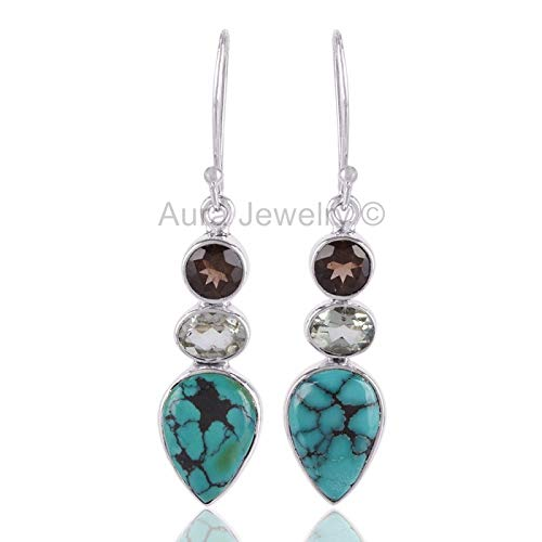 925 Sterling Silver Earrings for Womens, Drop & Dangle Earrings, Turquoise, Smoky Quartz, Green Amethyst Earrings Sterling Silver for Womens, Gift for Womens, Mom, Bridesmaid Gift, Handmade Jewelry