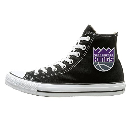 Bibabu Sacramento Logo Kings Casual Unisex Black High-tops Canvas Shoes