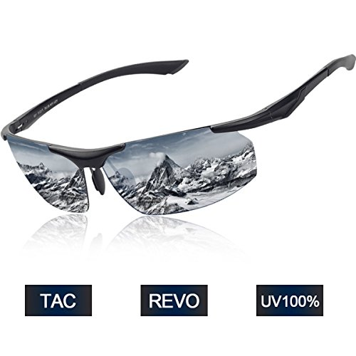 BUDGET & GOOD Polarized Sports Sunglasses Fashion Al-Mg Men Women Sunglasses 10O% UV400 Protection Eyewear Glasses for Winter Skiing Cycling Fishing Golfing Motorcycle Business Travel – Silver For Sale