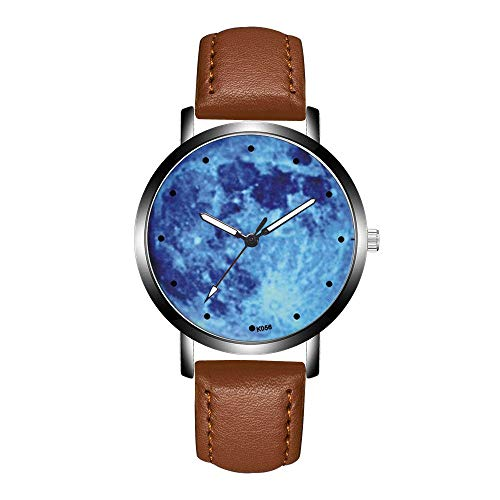 Mens Specialty Brown Dial - HHei_K Mens Business Creative Fashion Casual K056 Crystal Leather Sport Dial Analog Quartz Round Wrist Watch