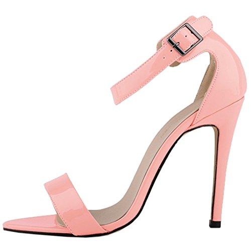 HooH Mujer Tacón alto Sandalias Verano Peep Toe Correa de tobillo Hebilla Zapatos de tacón Rosa