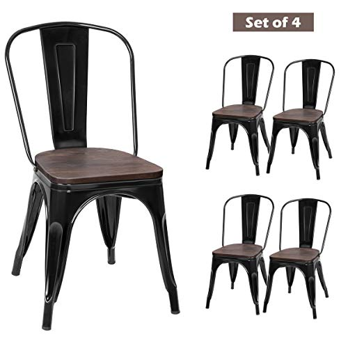COSTWAY Tolix Style Dining Chairs Industrial Metal Stackable Cafe Side Chair w/Wood Seat Set of 4 (Black) (Chairs Wood Barn)