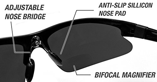 db62f78402c Renegade Patented Bifocal Polarized Reader Half Rim Men s Fishing Sunglasses  100%UV Protection (Matellic