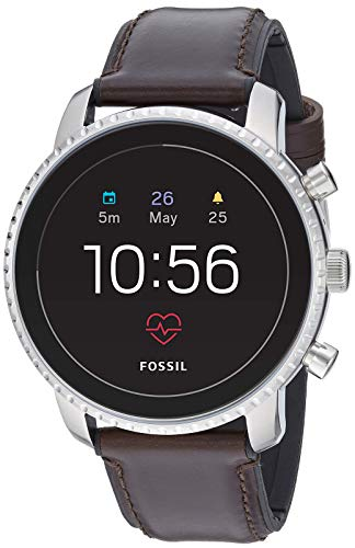 Fossil Men's Gen 4 Explorist HR Heart Rate Stainless Steel and Leather Touchscreen Smartwatch, Color: Silver, Brown (Model: FTW4015)