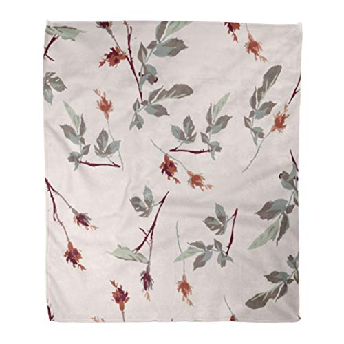 (Emvency Decorative Throw Blanket 60 x 80 Inches Green Flower Romantic Leafy Rosebud Pattern Design Cream Off White Red Liberty Warm Flannel Soft Blanket for Couch Sofa Bed)