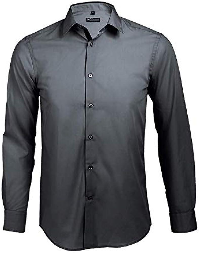 Broker - Camisa Ajustada Hombre Manga Larga Cielo Claro/Azul Marino, T L: Amazon.es: Ropa y accesorios
